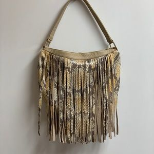 Kelly Wynne Holla at Me snake skin fringe purse